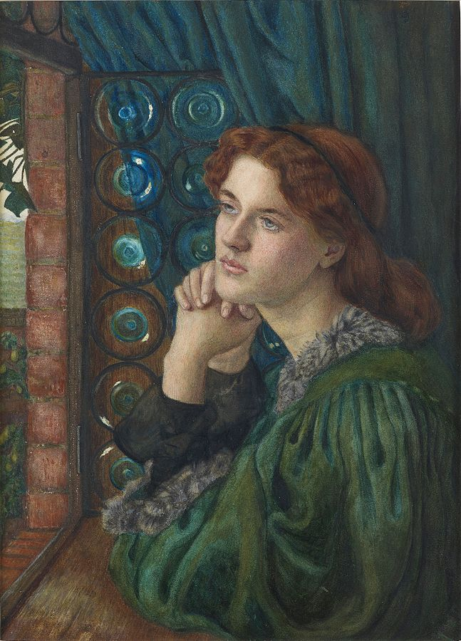 A painting Marie Spartali Stillman showing a redhead woman looking outside a window.Mariana