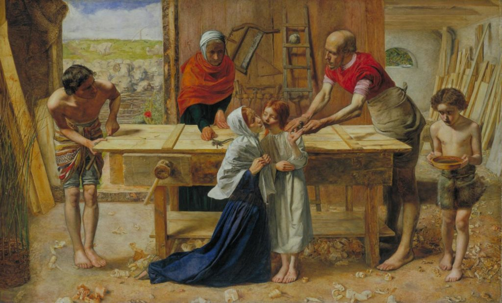 Photograph of Millais's painting showing Mary and Joseph comforting Christ after he cuts his hand with a nail. Sir John Everett Millais, Christ in the Carpenter's Shop