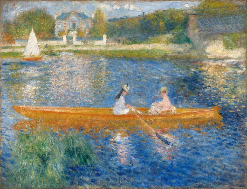 the painting of two women in the boat in summer, one woman is rowing, another one is looking at us, with the ship and boat in the background Pierre Auguste Renoir, The Skiff summer meal art