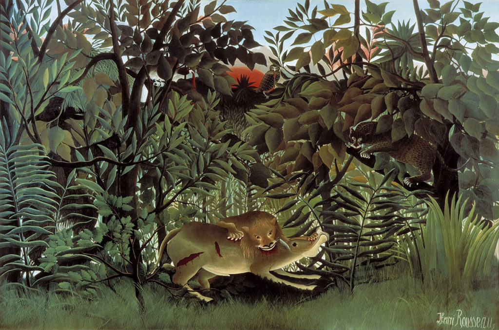 Exotic Art, The Hungry Lion Throws Itself on the Antelope by Henri Rousseau