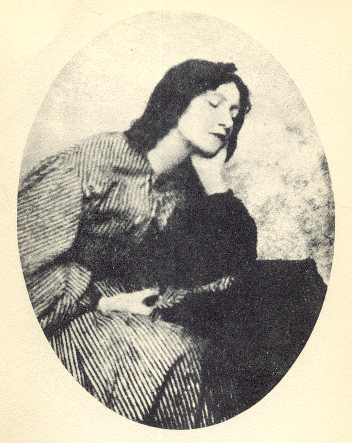 A Victorian photograph of Elizabeth Siddall, one of the Pre-Raphaelite Sisters, sitting.