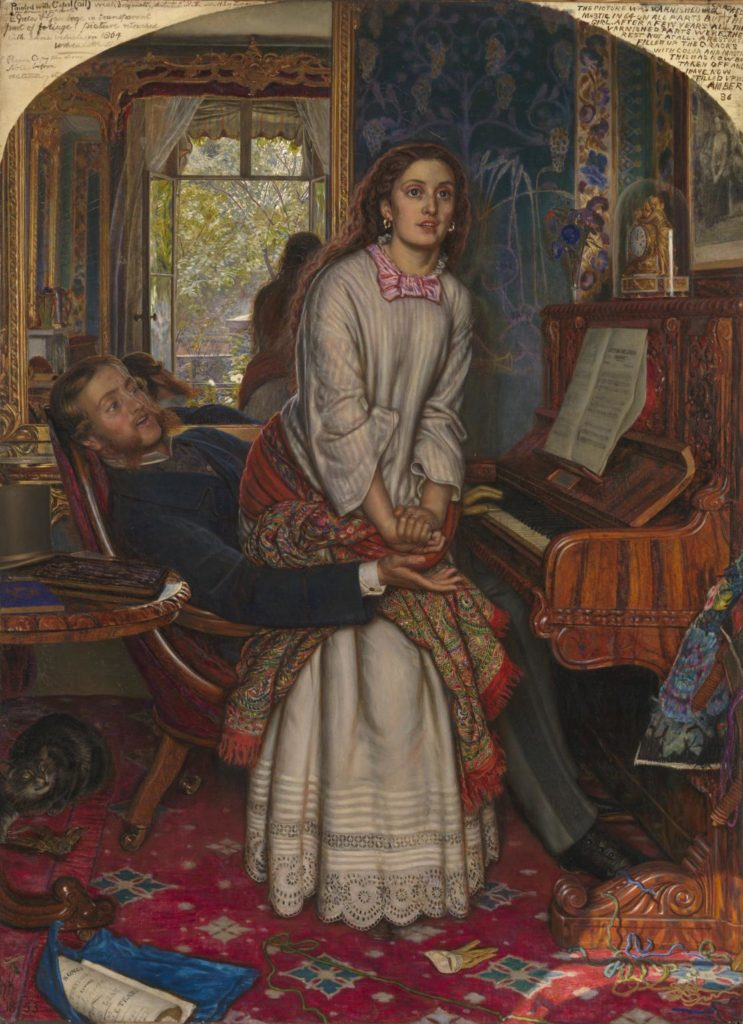 Photograph of Hunt's painting, showing a woman leaving her lover. William Holman Hunt, The Awakening Conscience