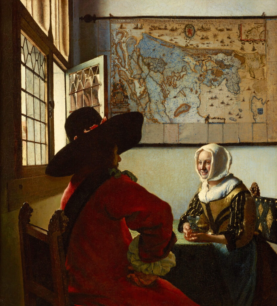 Officer and Laughing Girl by Vermeer Frick Collection masterpieces: