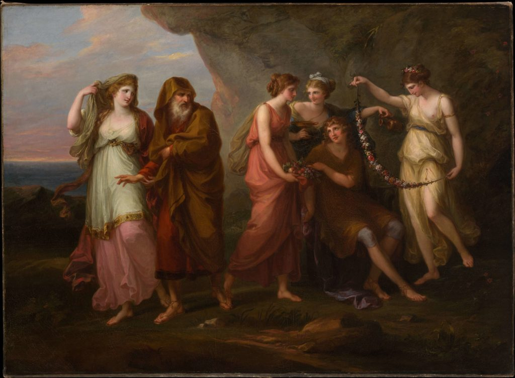 Telemachus and the Nymphs of Calypso by Angelica Kauffman