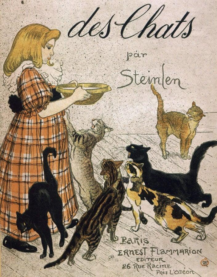 Vintage Parisian Advertisements: Theophile Steinlein, Des chats, Vintage Parisian advertising posters: