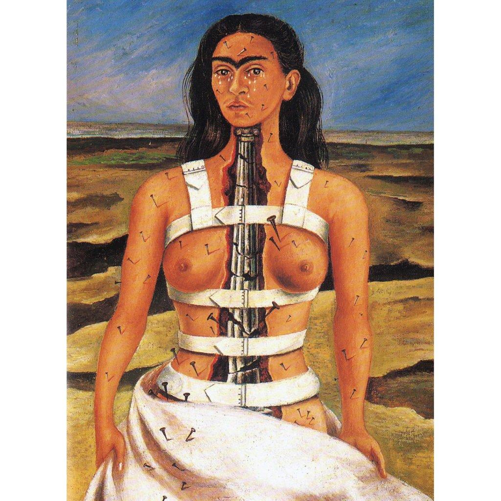 Feminist artists: Frida Kahlo, Broken Column, 1944