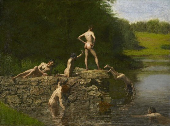 Male nudes in art history: Thomas Eakins, Swimming, 1885,