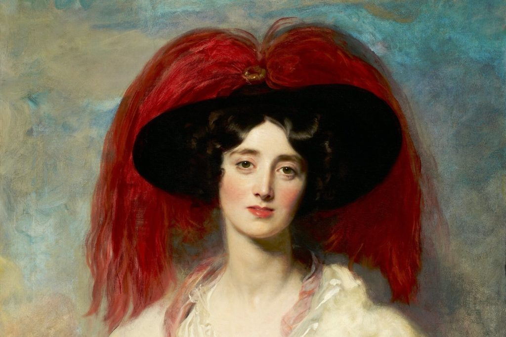 The woman in the fanciful dress, hat with red feathers is standing and looking directly at us. Detail with red feathers, clouds and face are shown.