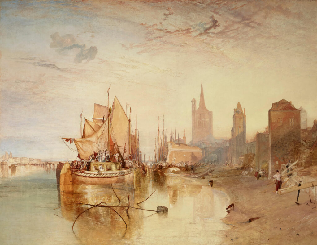 Cologne by J. M. W. Turner Joseph Mallord William Turner, Cologne, the Arrival of a Packet-Boat: Evening, 1826, The Frick Collection