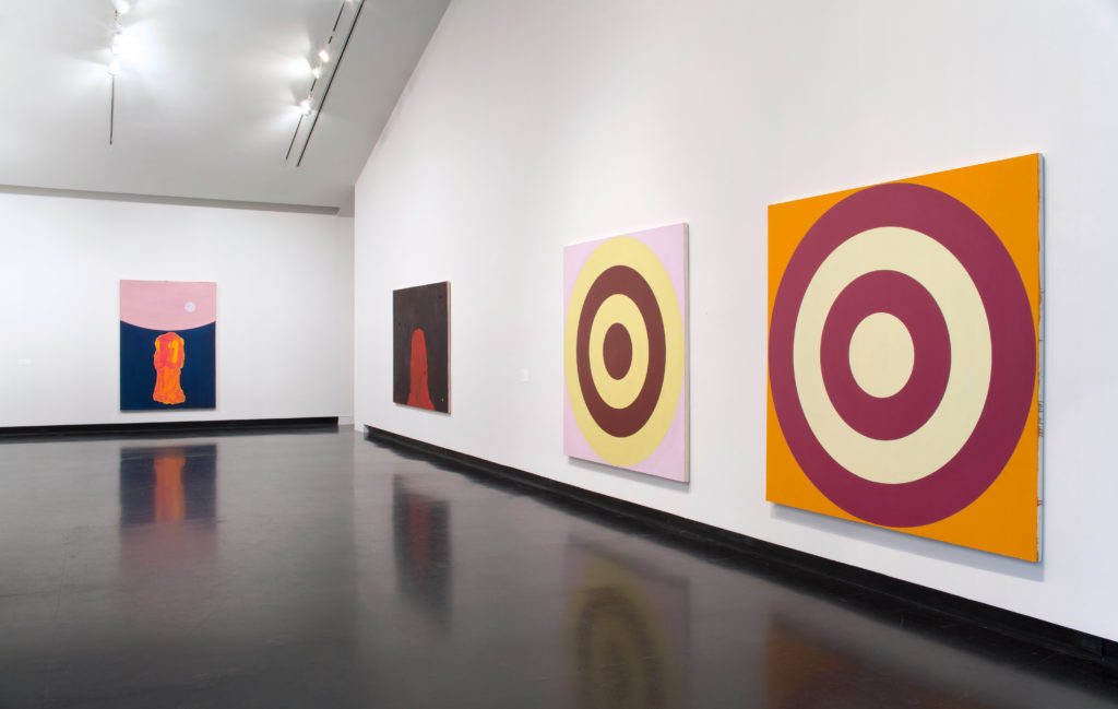 Installation view of Mary Weatherford: Canyon–Daisy–Eden