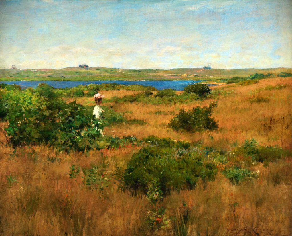 the painting of a woman in the white dress walking in the field in summer with hills in the distance summer meal art