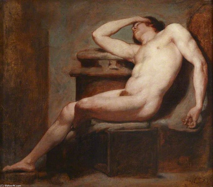 William Etty, Academic Study of a Reclining Male Nude Asleep,