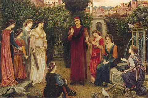 Painting by Marie Spartali Stillman depicting 9 brightly-dressed figures in an Italian setting. Dante at Verona