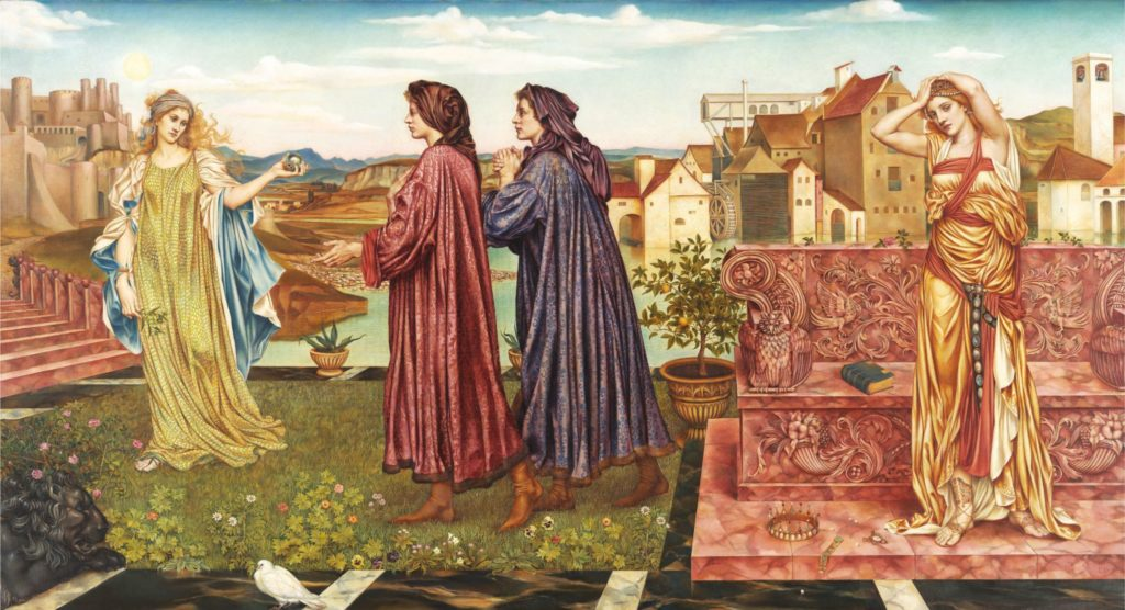 A painting by Evelyn De Morgan in the style of Botticelli, featuring two luxuriously-clad mean and two beautiful women.The Garden of Opportunity,