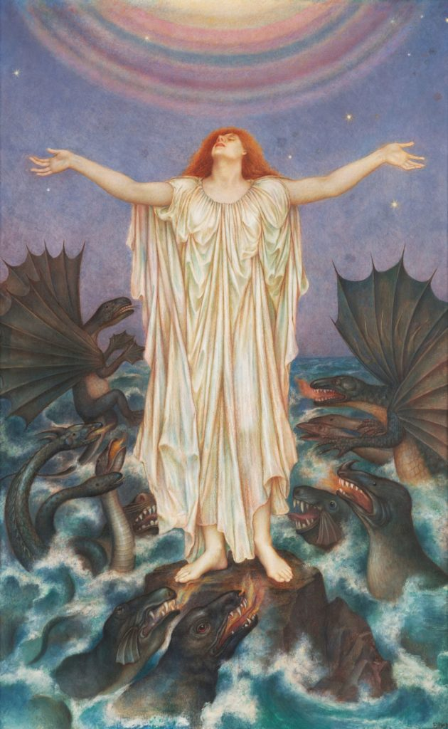 A painting by Evelyn De Morgan depicting a woman dressed in white rising from a sea of monsters/dragons.