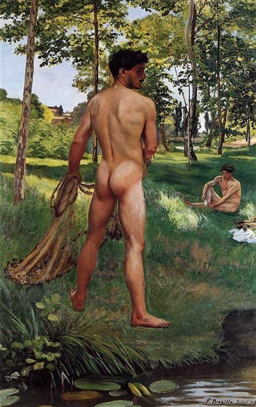 Male nudes in art history: Frédéric Bazille, Fisherman with a Net,