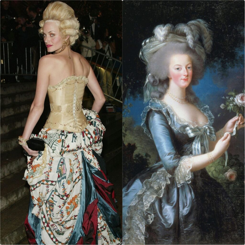 Left: Amber Valletta in John Galliano's and Maggie Norris' dress, Met Gala 2004, New York, NY, USA. Getty Images/CR Fashionbook; Right: Élisabeth Vigée-Lebrun, Portrait of Marie-Antoinette, 1783, The Metropolitan Museum of Art, New York, NY, USA. Detail.
