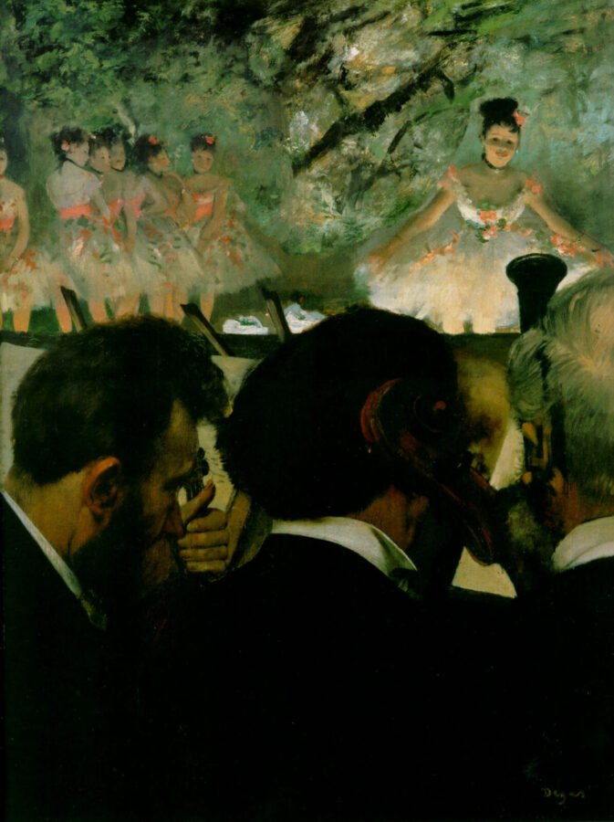 The painting of Edgar Degas, Musicians in the Orchestra, 1872. It portrays musicians behind which ones are ballerinas on the stage. impressionism