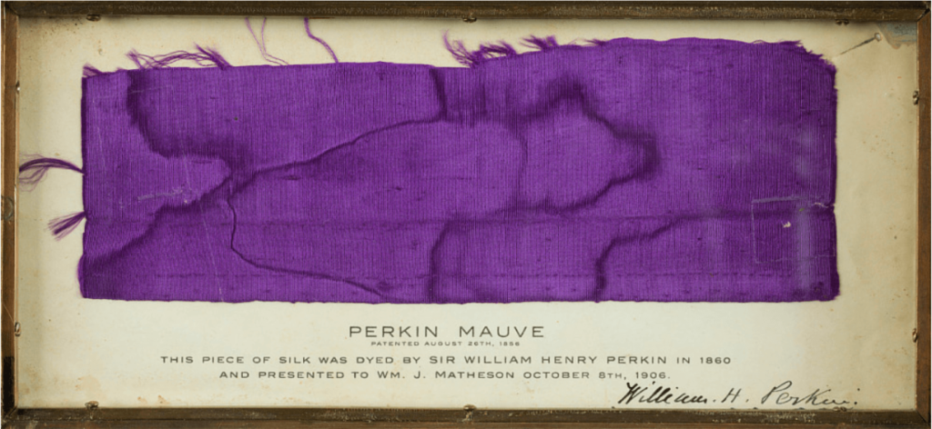 The Iconic Colors in Art History: Sir William Henry Perkin, Perkin Mauve, 1860, National Museum of American History, Washington, DC, USA.