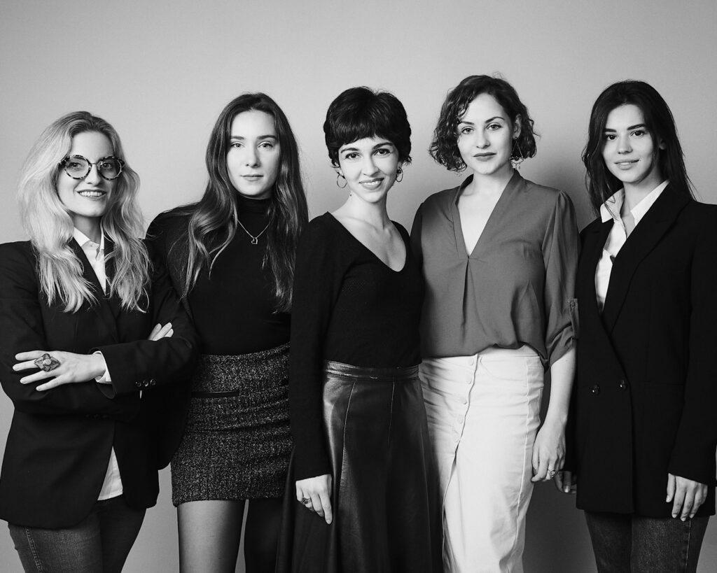 B&W Photography of REA! Team. From left to right with Elisabetta Roncati, Maryna Rybakova, Pelin Zeytinci, Maria Myasnikova, Maria Ryseva