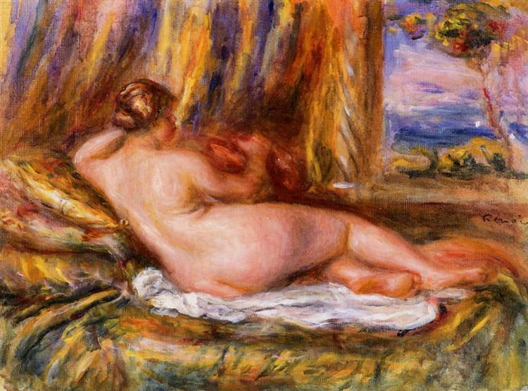 The painting of Pierre-Auguste Renoir, Reclining Nude, ca. 1860. It portrays reclined nude woman. impressionism