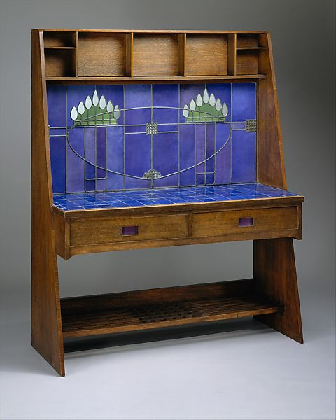 Art Nouveau Explained: Charles Rennie Mackintosh, Washstand, 1904, Oak, ceramic tile, colored and mirror glass, and lead, The Metropolitan Museum of Art, New York, USA.