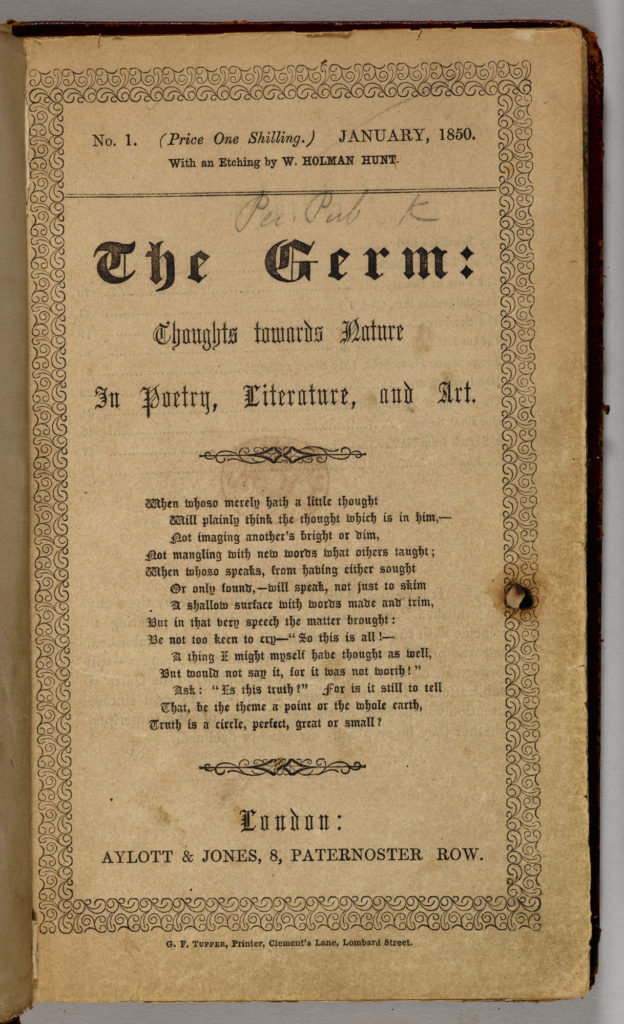 Photograph showing the front cover of the Pre-Raphaelite magazine, The Germ.