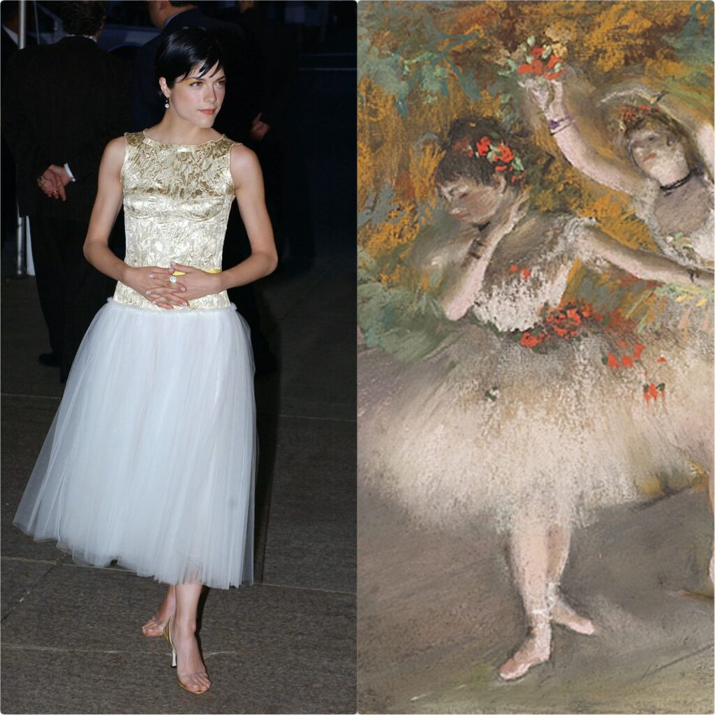 Left: Selma Blair in Behnaz Sarafpour's dress, Met Gala 2003, New York, NY, USA. Popsugar; Right: Edgar Degas, Two Dancers Entering the Stage, ca. 1877-1878, Harvard Art Museum, Cambridge, MA, USA. Detail.