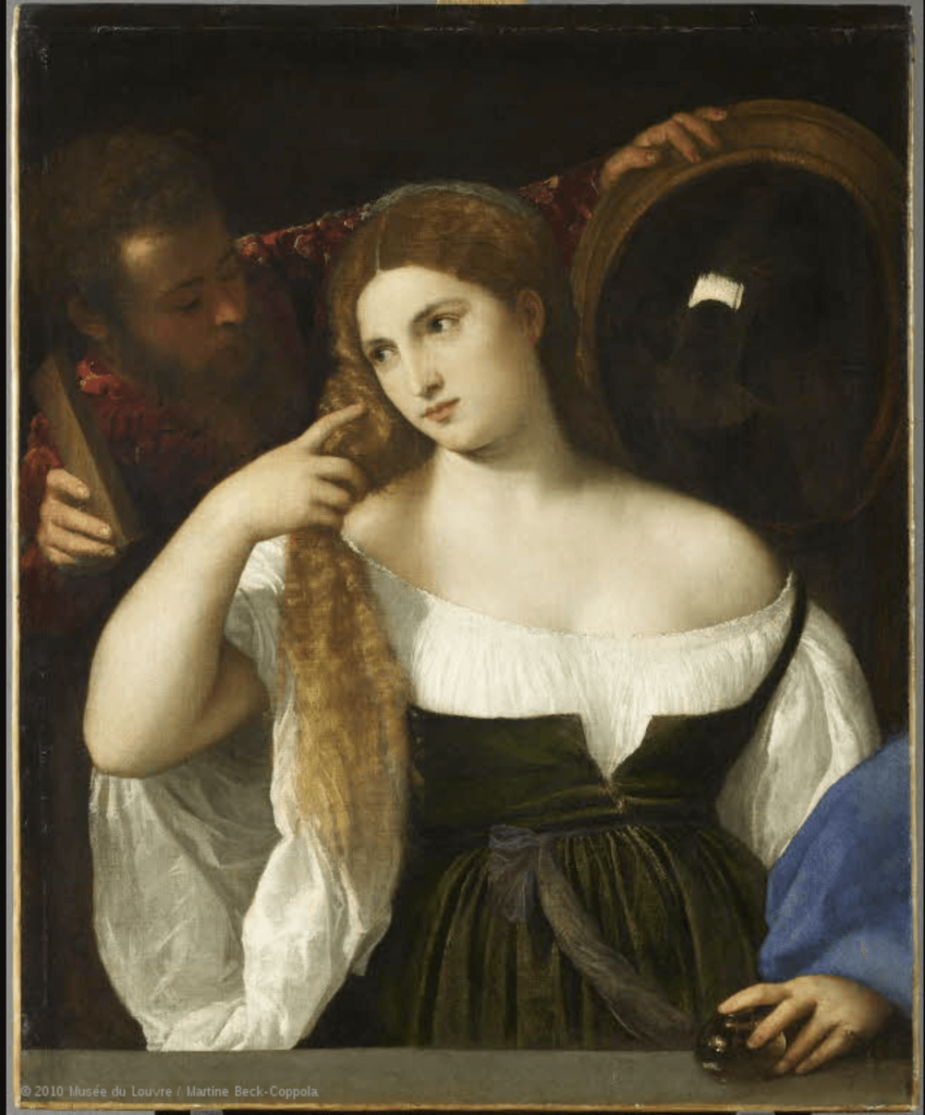 The Iconic Colors in Art History: Titian, Woman with a Mirror, ca. 1515, Louvre, Paris, France.