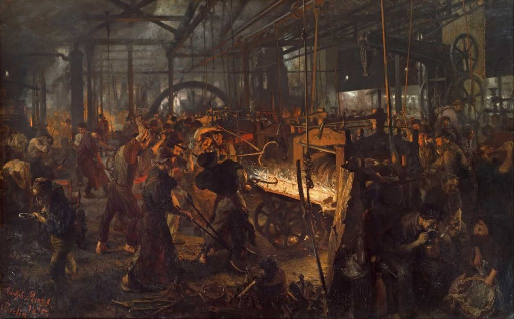 Alte Nationalgalerie Highlights: Adolph Menzel, The Iron Rolling Mill (Modern Cyclopes), 1872-5, Alte Nationalgalerie, Berlin, Germany.