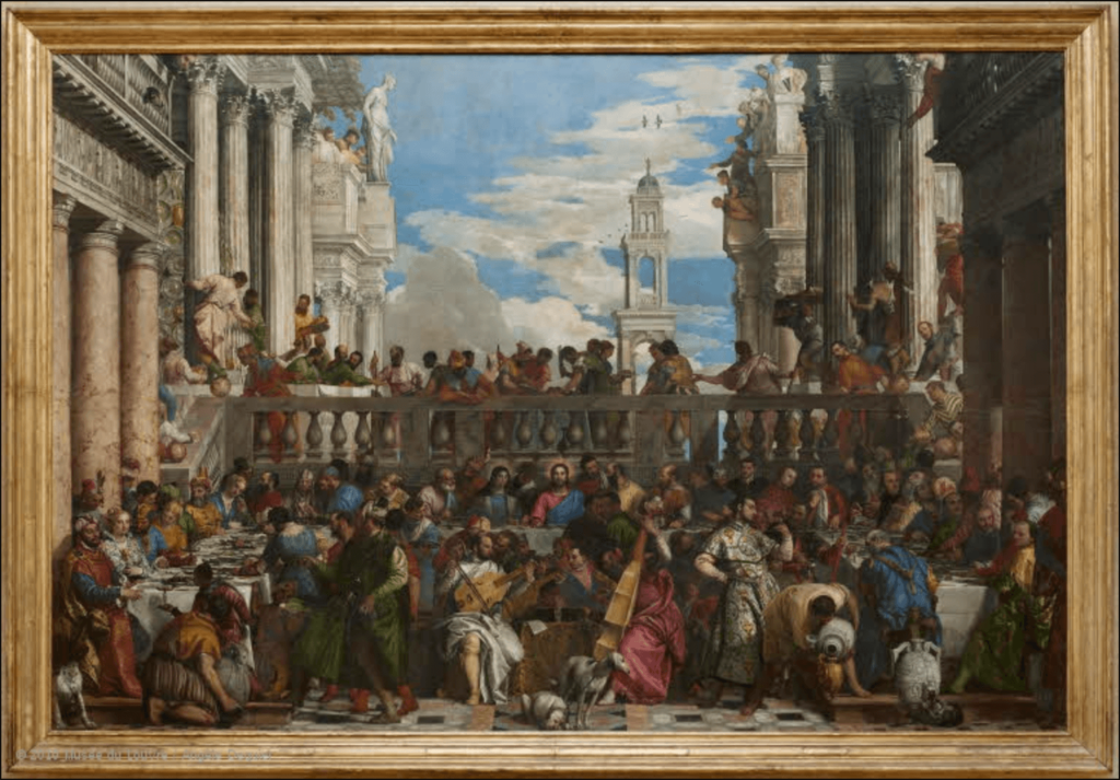 The Iconic Colors in Art History: Paolo Veronese, The Wedding Feast at Cana, 1563, Louvre, Paris, France.