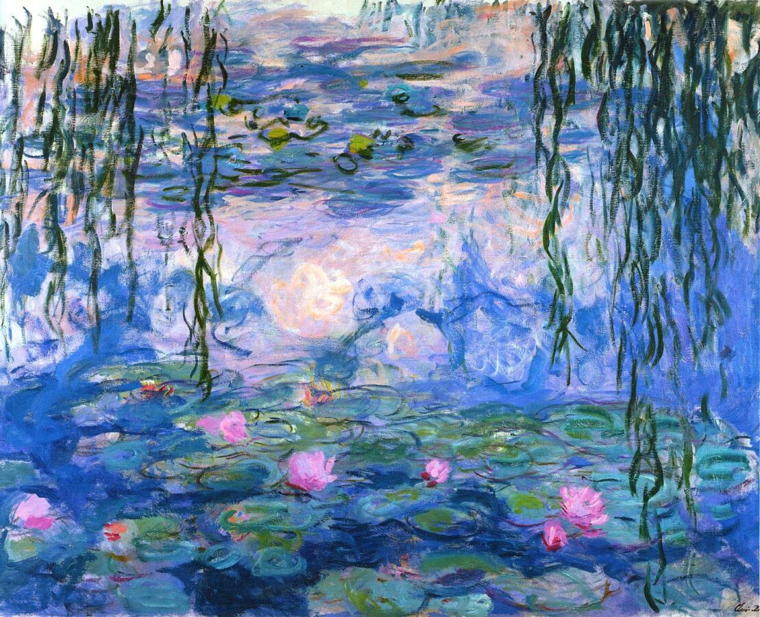 The painting of Claude Monet, Water Lilies, 1916-1919. impressionism