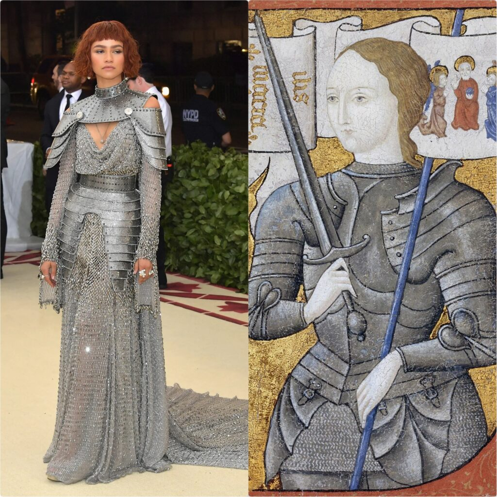 Left: Zendaya in Versace, Met Gala 2018, New York, NY, USA. Photo by Nielson Barnard/Getty Images; Right: Miniature Painting of Joan of Arc, ca. 1450-1500, Archives Nationales France, Pierrefitte-Sur-Siene, France.