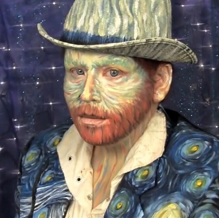 Angie Davis transformed herself into Vincent Van Gogh and has a youtube tutorial available. Angie Davis Instagram account.
