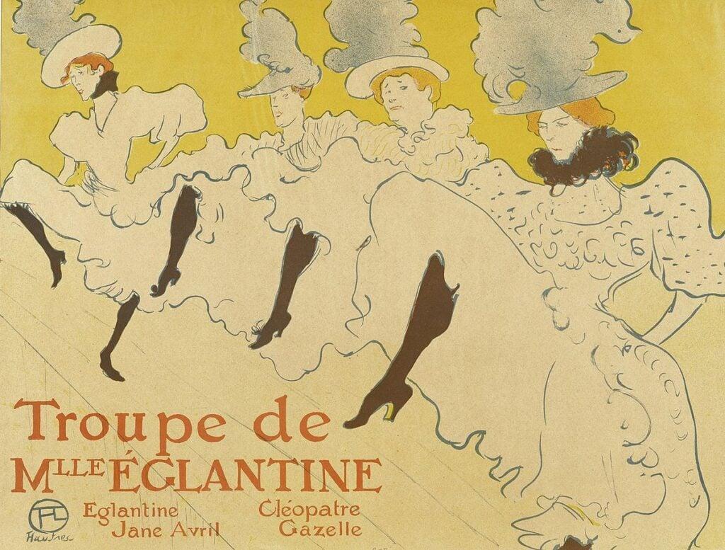 Henri de Toulouse-Lautrec's famous poster of can-can dancers in Paris. Henri de Toulouse-Lautrec, Troupe de Mlle Églantine can can paintings