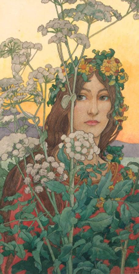 Art Nouveau female artists: art nouveau work by elisabeth sonrel of a woman representing spring