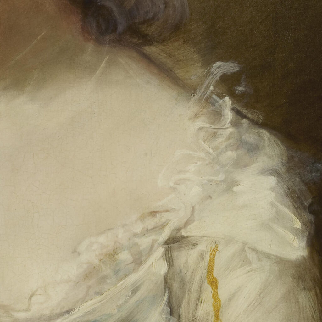 Thomas Gainsborough, Grace Dalrymple Elliott, ca. 1782, Frick Collection, New York City. Enlarged Detail of Shoulder.