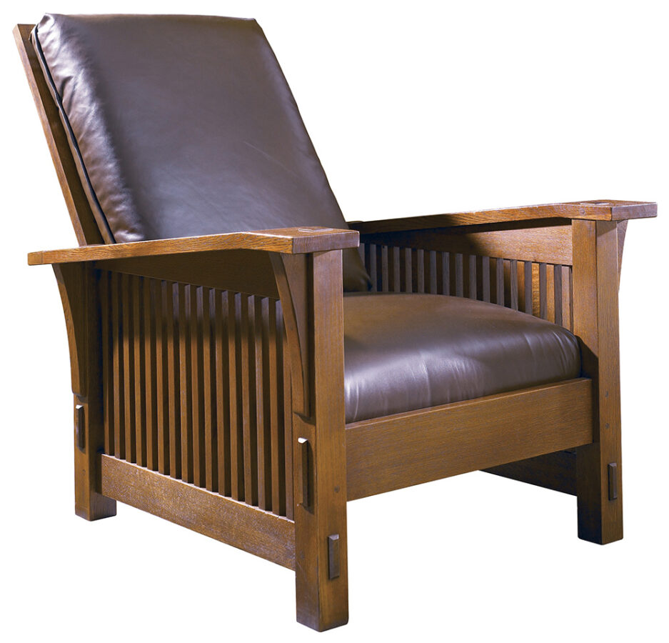 Arts and Crafts' Principles in Interior Design: Gustav Stickley design of the Morris Chair, a recliner with leather seats