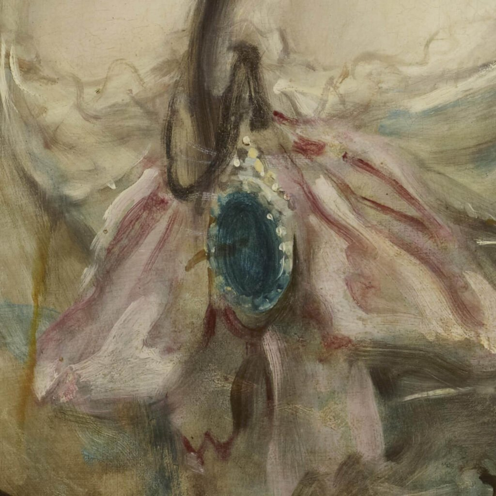 Thomas Gainsborough, Grace Dalrymple Elliott, ca. 1782, Frick Collection, New York City. Enlarged Detail of Jewel.