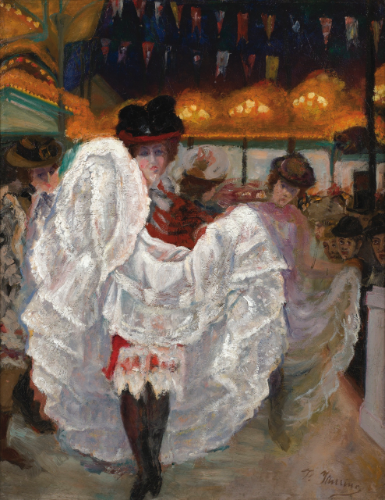 Petticoats and skirts in The Moulin Rouge in Paris during La Belle Époque. can can paintings
