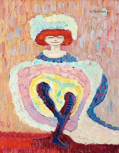 One of Swedish artist Axel Törneman's can-can paintings from Le Belle Epoque. Axel Törneman, Can-Can Dansösen (The Can-Can Dancer),