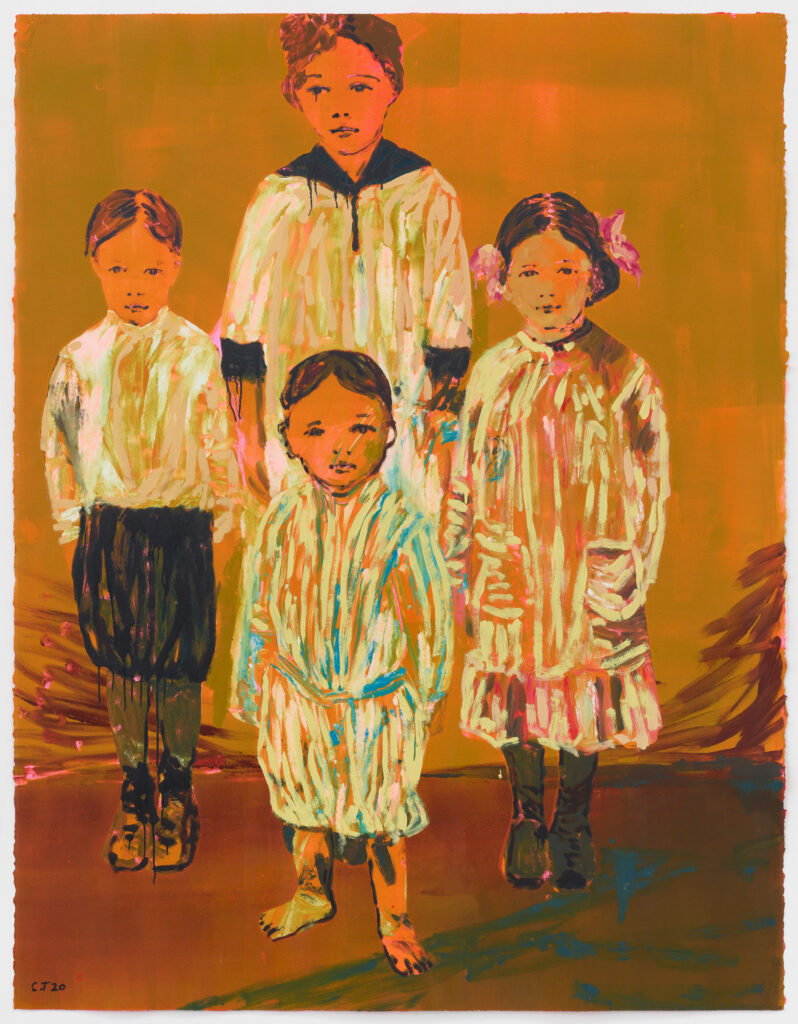 Claire Tabouret, The Siblings (orange), 2020