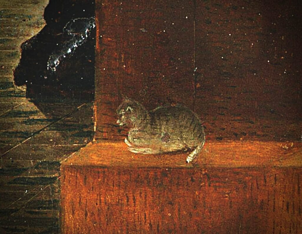 Antonello da Messina, St. Jerome in His Study the close-up of the cat lying on the platform