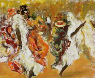 One of Polish artist Weiss's can-can paintings from Paris during La Belle Époque. Wojciech Weiss, Cancan at the Moulin Rouge, 1900 can can paintings