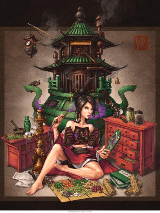 James Ng, Crystal Herbalist, illustration.