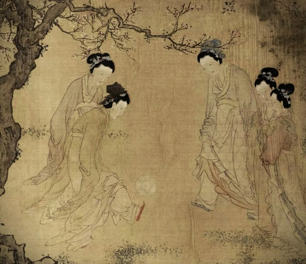 Modern Sports Played in Ancient China, painting of Qian Xuan, Emperor Taizu and his Prime Minister kicking the ball, other court officials are watching the game