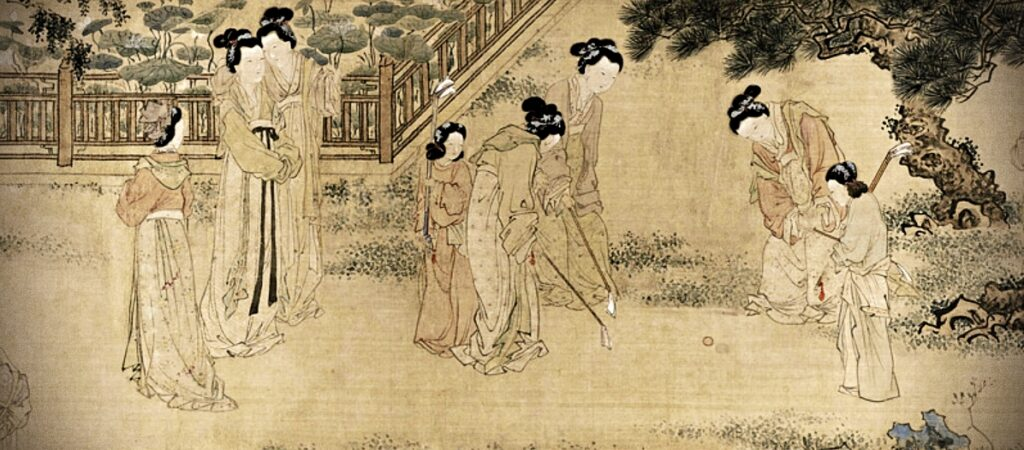 Modern Sports Played in Ancient China, Du Jin, painting of a group of Court Ladies in the inner palace playing chuiwan or golf