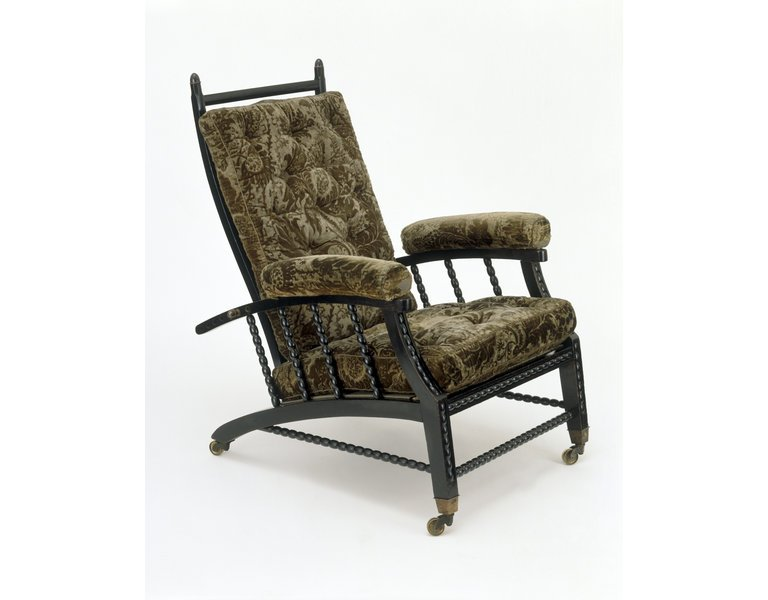 Arts and Crafts' Principles in Interior Design:The Morris Chair, the world's first recliner chair, with upholstery fabric designed by William Morris