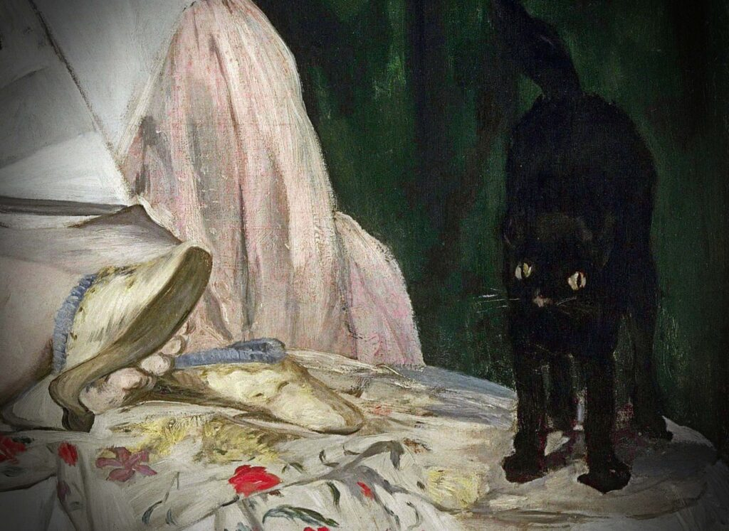 Edouard Manet, Olympia the close-up of the cat standing on the bed and looking straight at the viewer