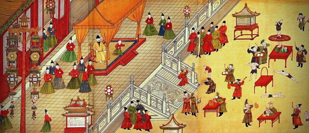 Modern Sports Played in Ancient China, painting of Emperor Xianzong of Ming watching performing gymnasts